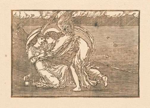 An image of Cupid reviving Psyche (for The Earthly Paradise) by attrib. William Morris, after Sir Edward Coley Burne-Jones