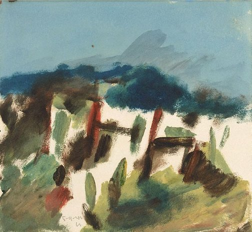 An image of Dimboola landscape by Sidney Nolan