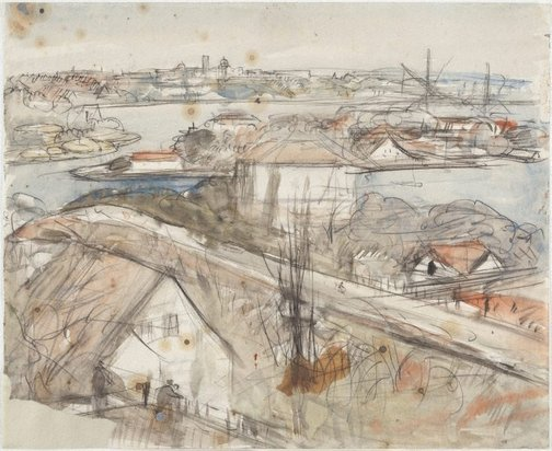 An image of Sydney, the harbour and island by Lloyd Rees