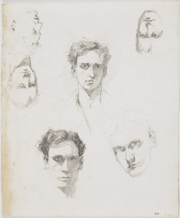 An image of recto: Three self portraits and the profile of a woman verso: Five self portraits and the profile of a woman