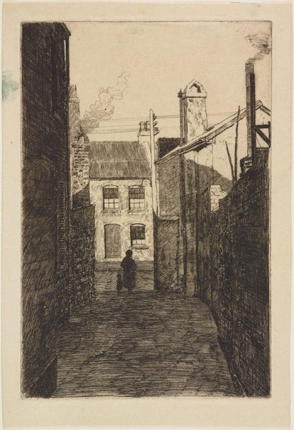 An image of Matthew Place looking into Princes Street from Upper Fort Street by Sydney Ure Smith