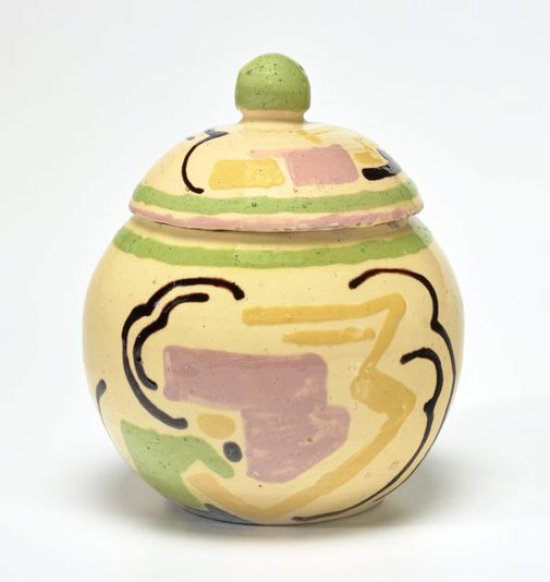 An image of Confectionery jar with cubist designs by Anne Dangar