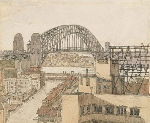 An image of The Bridge by Sydney Ure Smith