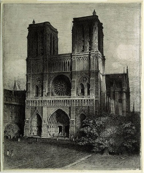 An image of Notre Dame, Paris by Lloyd Rees