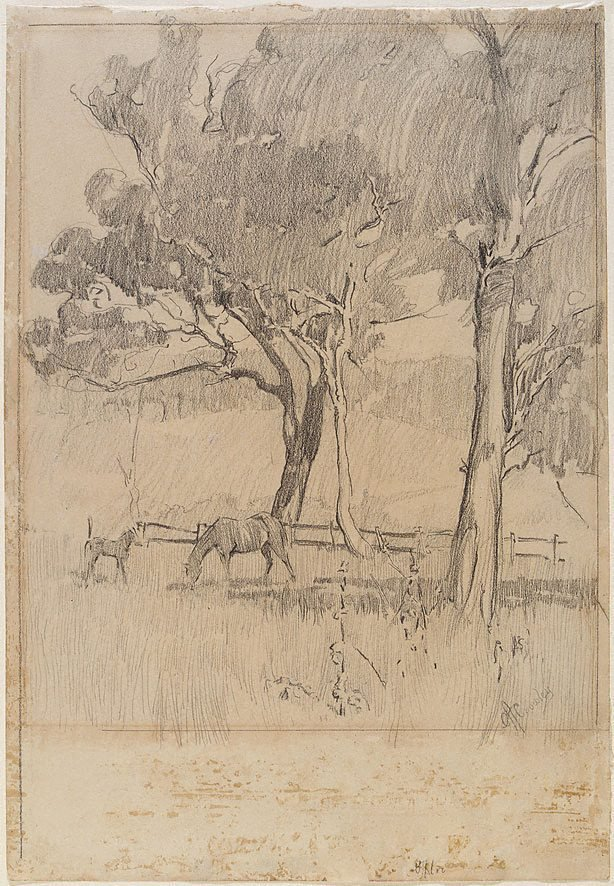 An image of recto: Landscape with mare and foal verso: Horse studies