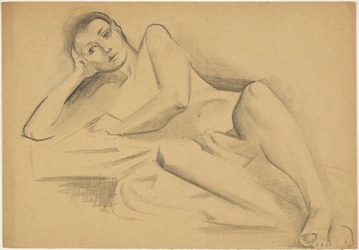 An image of recto: Reclining female nude verso: outline of figure of woman by Grace Crowley