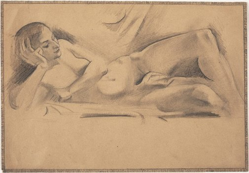 An image of Reclining female nude (Academie Lhote) by Grace Crowley