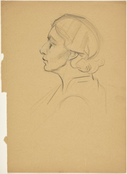 An image of Head of a woman, in profile left (Academie Lhote) by Grace Crowley
