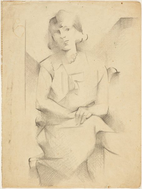 An image of Portrait study of a seated woman (Academie Lhote) by Grace Crowley