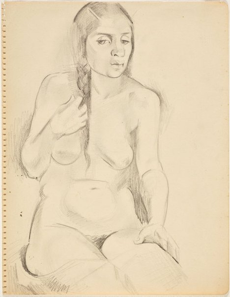 An image of Seated nude girl with plait (Nudes, Crowley-Fizelle period) by Grace Crowley