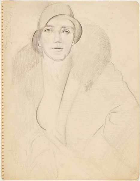 An image of Head of a woman in cloche hat (Portrait of Margaret Mackenzie?) (Nudes, Crowley-Fizelle period) by Grace Crowley