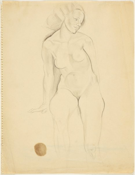 An image of Seated female nude with wavy hair, front view (Nudes, Crowley-Fizelle period) by Grace Crowley