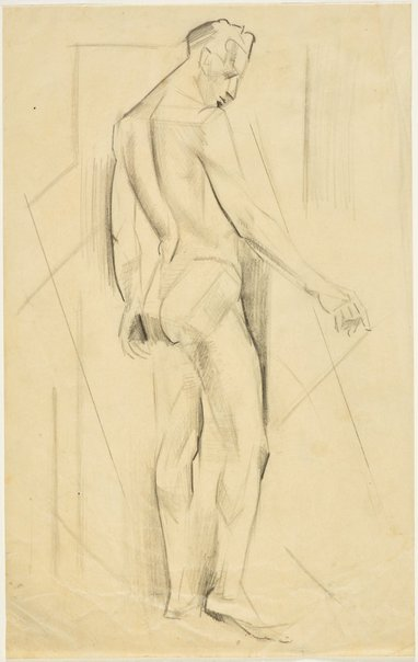 An image of Three-quarter back view, standing male nude (Nudes, Crowley-Fizelle period) by Grace Crowley