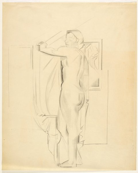 An image of Standing female nude with drapery, profile left (Nudes, Crowley-Fizelle period) by Grace Crowley