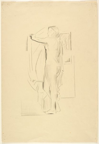 An image of recto: Copy of standing female nude with drapery verso: Boy, dog, hares by Grace Crowley