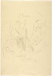 Alternate image of recto: Copy of standing female nude with drapery verso: Boy, dog, hares by Grace Crowley