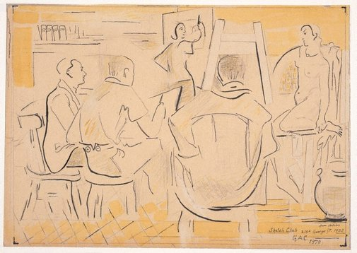 An image of Sketch Club, 215A George St (Sketch Club: for painting of 1978, from sketches circa 1935) by Grace Crowley