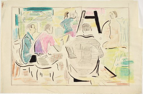 An image of Study (Sketch Club: for painting of 1978, from sketches circa 1935) by Grace Crowley