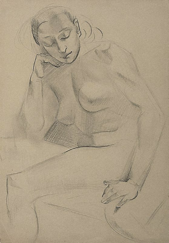 An image of Seated female nude, eyes downcast (Academie Lhote)