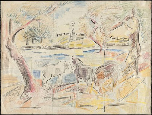 An image of Horses by a pond (Studies for painting?) by Grace Crowley