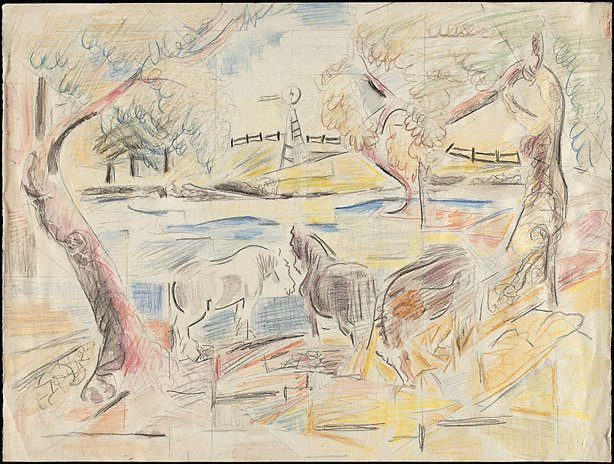 An image of Horses by a pond (Studies for painting?)