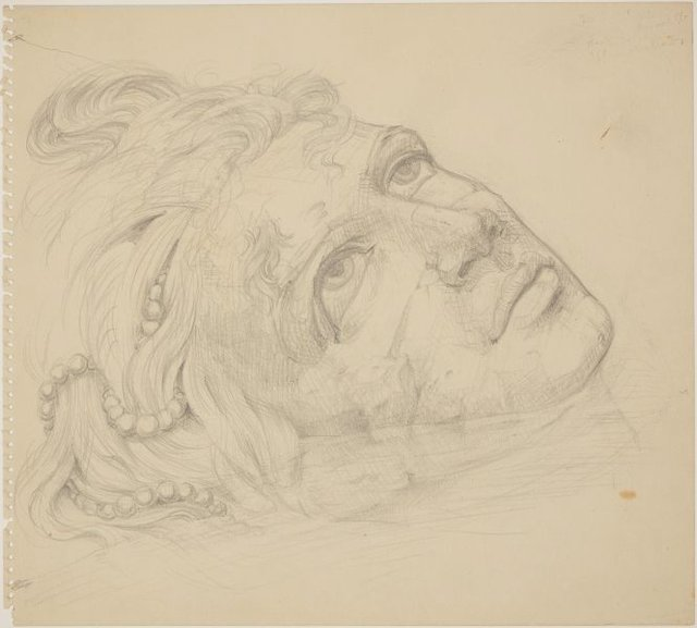 An image of (Study for monumental head in foreground)