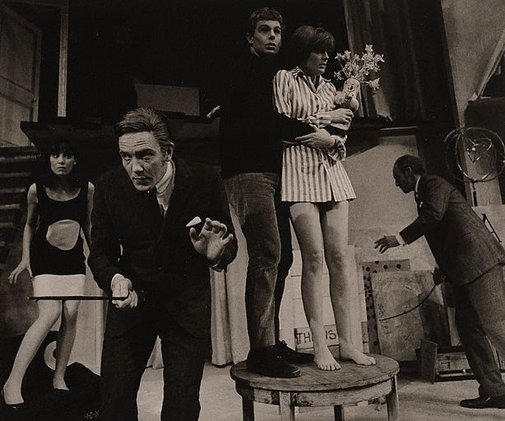 An image of Louise Purnell, Albert Finney, Derek Jacobi, Maggie Smith and Graham Crowden in 'Black comedy' by Peter Schaffer, The National Theatre, London by Lewis Morley