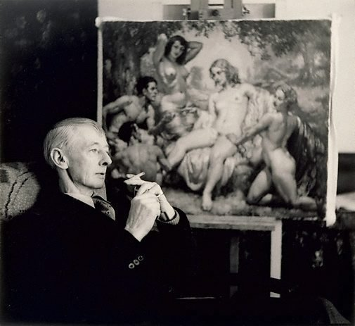An image of Norman Lindsay (in front of painting)