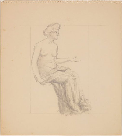 An image of Studies for 'Italy' (Study for draped female figure) by James Gleeson
