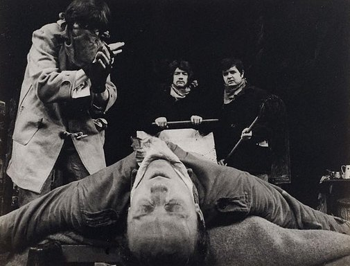 An image of Rodney Bewes, Tim Preece, John Hurt and Kenneth Colley in 'Little Malcolm and his struggle against the eunuchs', Garrick Theatre, London by Lewis Morley
