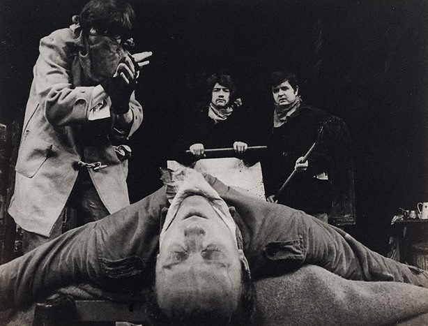 An image of Rodney Bewes, Tim Preece, John Hurt and Kenneth Colley in 'Little Malcolm and his struggle against the eunuchs', Garrick Theatre, London