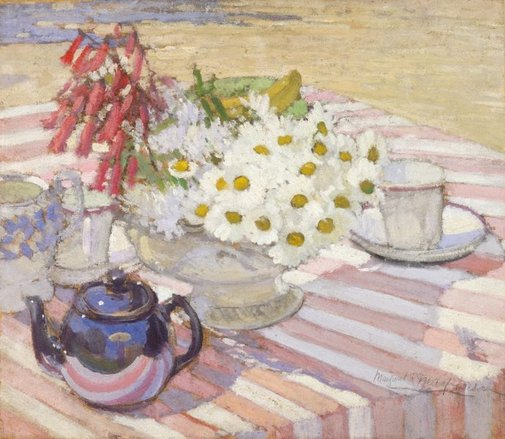 An image of (Still life with teapot and daisies) by Margaret Preston
