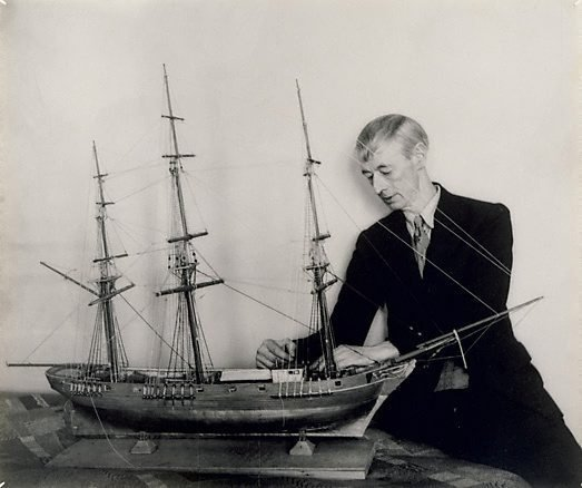 An image of Norman Lindsay (with model ship)