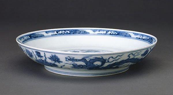 An image of Dish with dragon swimming among the lotus