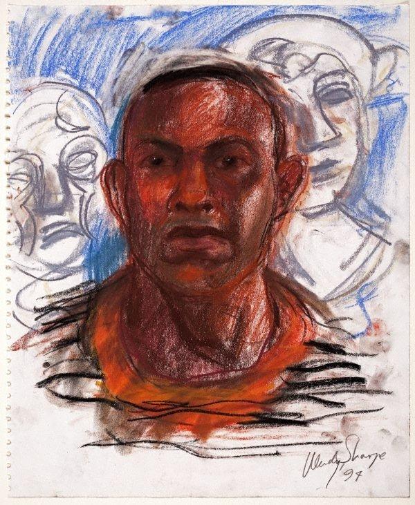 An image of (Man's head and plaster casts at Julian Ashton Art School, Sydney)
