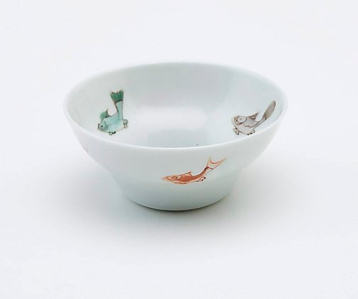 An image of Wine cup decorated with five carp on the interior and four on the exterior by Jingdezhen ware