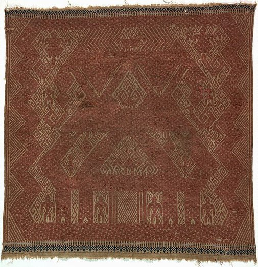 An image of Ceremonial textile (tampan) with ship design and human and animal figures by