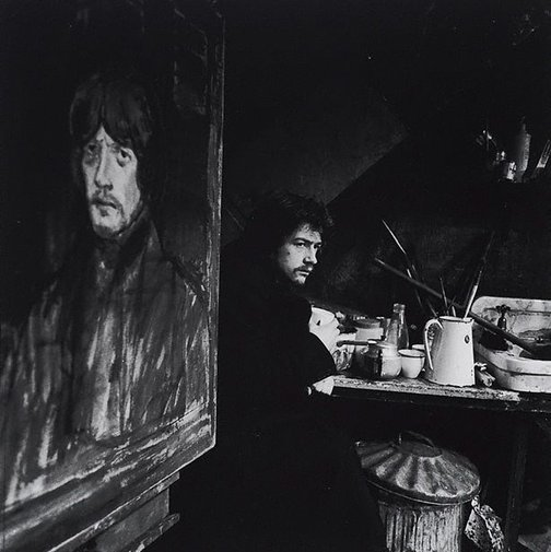 An image of John Hurt in 'Little Malcolm and his struggle against the eunuchs', Garrick Theatre, London by Lewis Morley