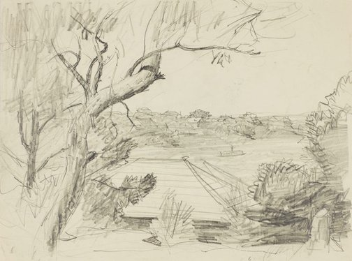 An image of recto: A view from Northwood with ferry verso: Study of the house and foliage by Lloyd Rees