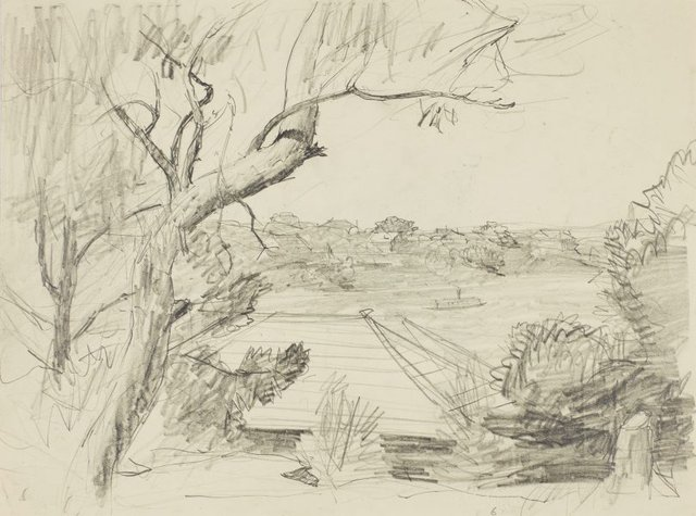 An image of recto: A view from Northwood with ferry verso: Study of the house and foliage