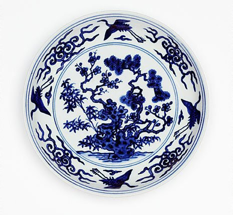 An image of Dish with design of the Three Friends by Jingdezhen ware