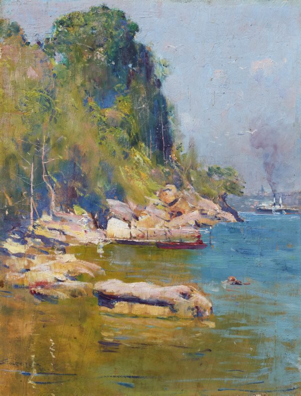 AGNSW collection Arthur Streeton From my camp (Sirius Cove) 1896