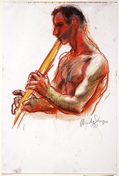 An image of (Man playing flute) by Wendy Sharpe