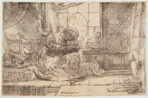 An image of The Virgin and Child with the cat and snake by Rembrandt Harmensz. van Rijn