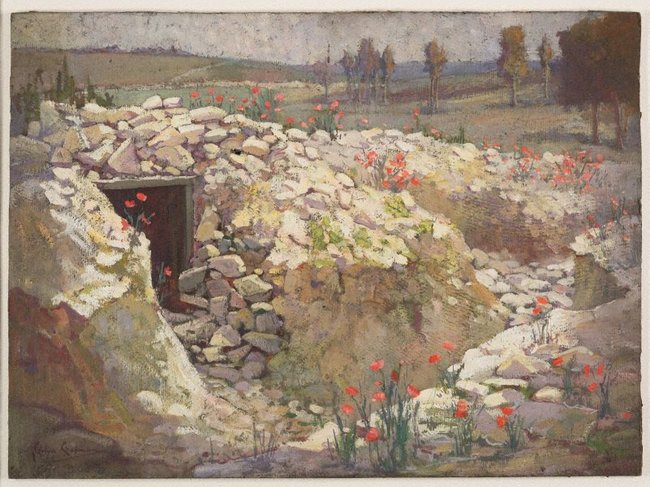 AGNSW collection Evelyn Chapman Old trench, French battlefield 1919