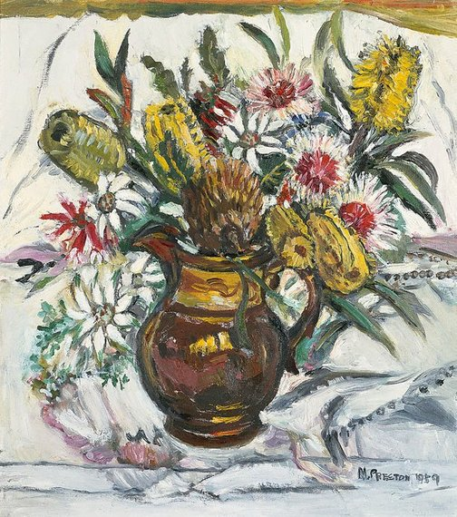 An image of (Still life with bush flowers in lustreware jug) by Margaret Preston