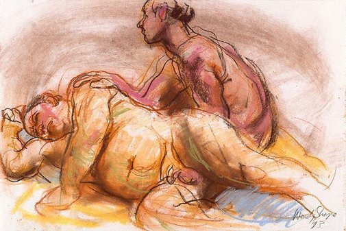 An image of Seated and reclining male nudes by Wendy Sharpe