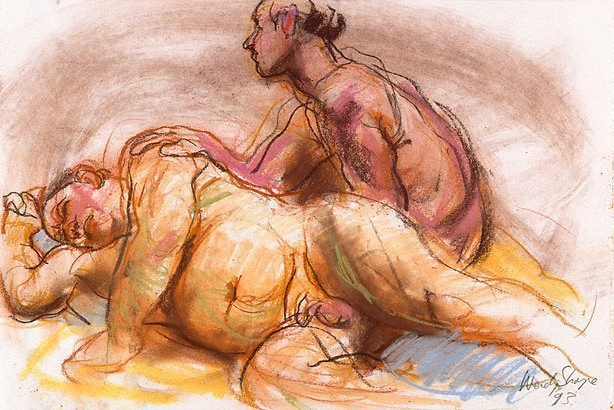 An image of Seated and reclining male nudes