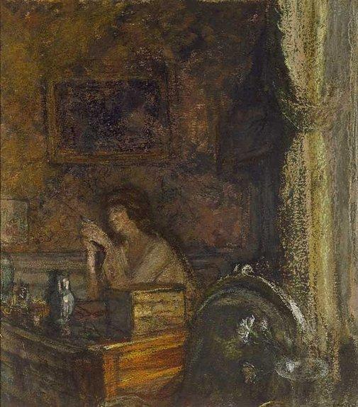 An image of Madame Prosper Emile Weil at her desk by Édouard Vuillard