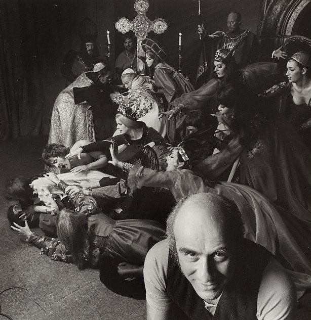 An image of Warren Mitchell and cast in 'The council of love' by Oscar Panizza, Criterion Theatre, London